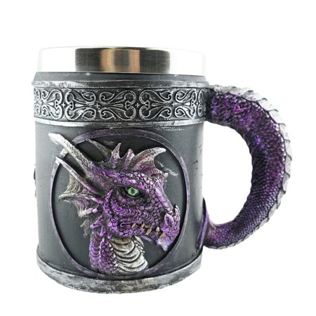 Mythical Purple Royal Dragon Beer Coffee Mug Serpent Handle Medieval Collectible Magical Halloween Party Home Decor Gift - Halloween Drinking Gif