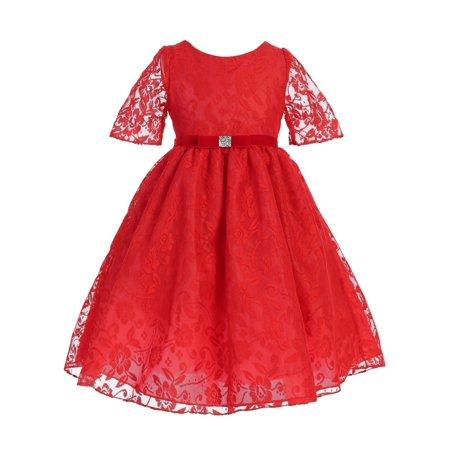 Ellie Kids Girls Red Velvet Lace Sash Tea Length Christmas Dress Lace Tea Dress