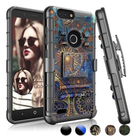 ZTE Zmax Pro 2 Case, ZTE Sequoia Case, ZTE Blade Z Max Case, Njjex Shock Absorbing Swivel Locking Belt Heavy Full Body Kickstand Carrying Camouflage Cases Cover For ZTE Z982 (Custom Heavy Relic)
