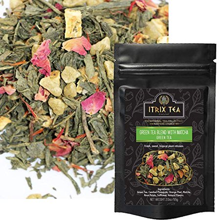Itrix Green Tea Blend with Matcha - Best Loose Leaf Tea - Vegan & Naturally Harvested | Radiation Free | Increases Energy, Boosts Metabolism, Improves Mental