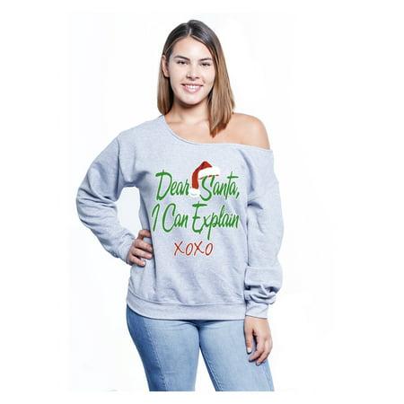 Plus Size Christmas Pajamas.Awkward Styles Dear Santa I Can Explain Ugly Christmas Sweatshirt Great With Christmas Pajamas Christmas Plus Size Tops For Women Funny Christmas