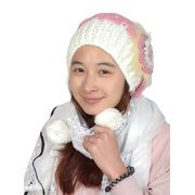 Unique Bargains Lady White Crochet Flowers Pearl Detail Winter Stretchy Warm Knitting Hat
