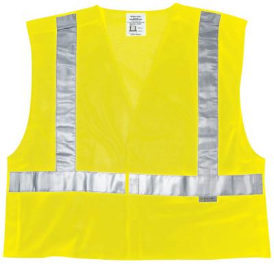 Luminator Class Ii Tear-Away Safety Vests, Lrg, Fluorescent Lime, Fire-Resistant