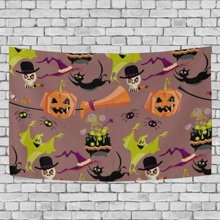 MYPOP Halloween Cat Hat Bat Ghost Tapestry Wall Hanging Decoration Home Decor Living Room Dorm 60x51 inches (Halloween Decorations Living Room)