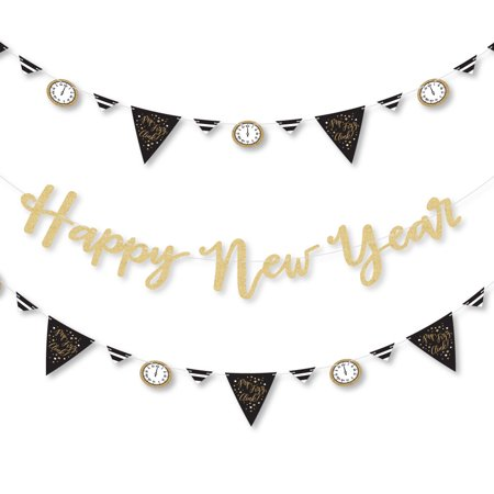 Black And Gold New Years Eve Decorations (New Year's Eve - Gold - Letter Banner Decoration - 36 Banner Cutouts and No-Mess Real Gold Glitter Happy New)