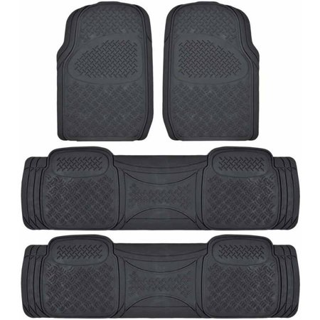 BDK Super Duty Rubber Floor Mats for Car SUV and Van 3 Rows, All Weather, Heavy Duty, 3