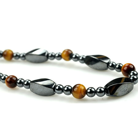 Jewel Bead Necklace (Fashion Jewelry Men Women Magnetic Hematite Twist Bead with tiger eye gemstone Necklace - 91183 )