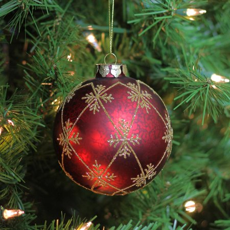 Burgundy Red With Gold Glitter Snowflakes Mercury Glass Ball Christmas Ornament 3 25 80mm