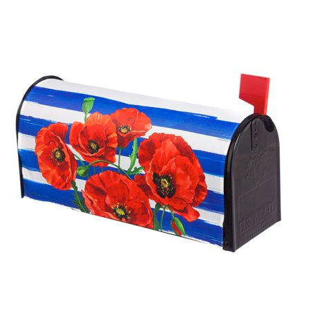 Evergreen Flag Poppies and Stripes Mailbox