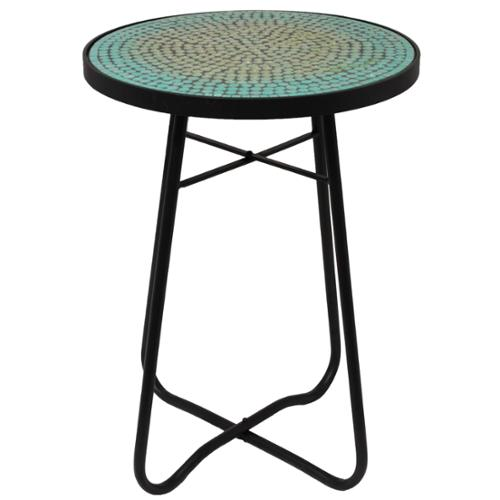 ecWorld Enterprises Turquoise Mosaic Round Patio Side Accent Table by Overstock