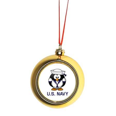 U S Navy United States Penguin Design Bauble Christmas Ornaments Gold Bauble Tree Decoration