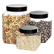 Canister Set 3-Piece Glass Jars in 44oz, 64oz and 77oz Chic Design with Airtight Stainless Steel Lids for Cookies, Candy, Coffee, Flour, Sugar, Pasta, Cereal and More, Medallion Embossed