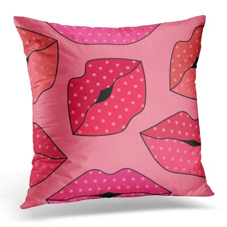 BSDHOME Red Pretty with Random Lips on Pink Beige Abstract Throw Pillow Case Pillow Cover Sofa Home Decor 16x16 Inches - image 1 de 1