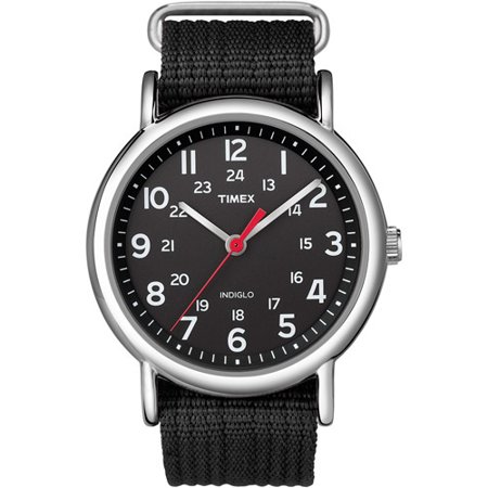 Timex Men's T2N647KW Weekender Slip Thru Black Analog Nylon Watch