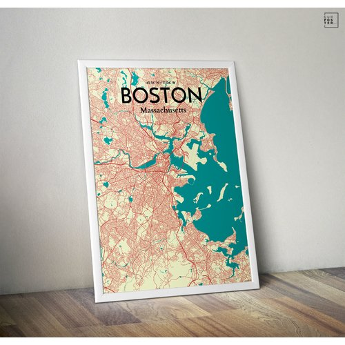 OurPoster.com 'Boston City Map' Graphic Art Print Poster in Tricolor