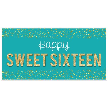 Sweet 16 Banners (Teal Confetti Sweet 16 Sixteen Birthday)