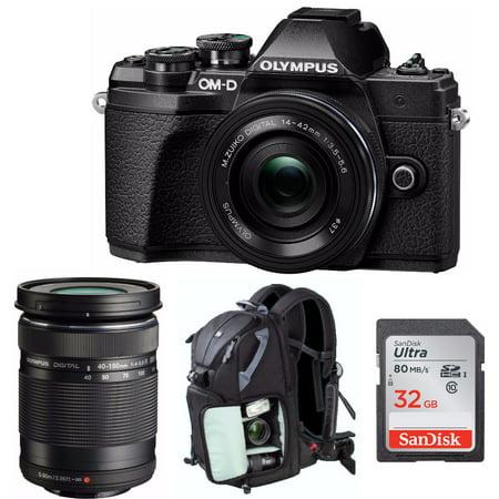 Olympus OM-D E-M10 Mark III Mirrorless Camera (Black) with 2 Lens Bundle