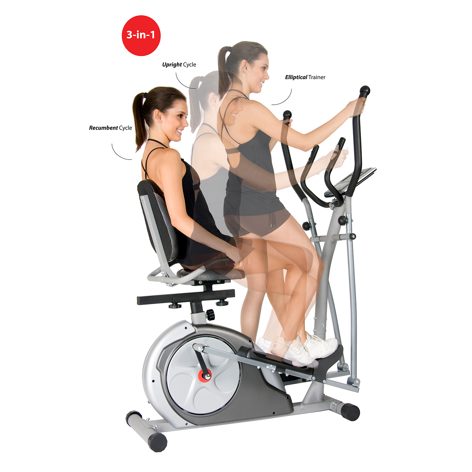 Body Rider BRT3980 Elliptical Machine Trainer 3-in-1 Trainer Workout Machine