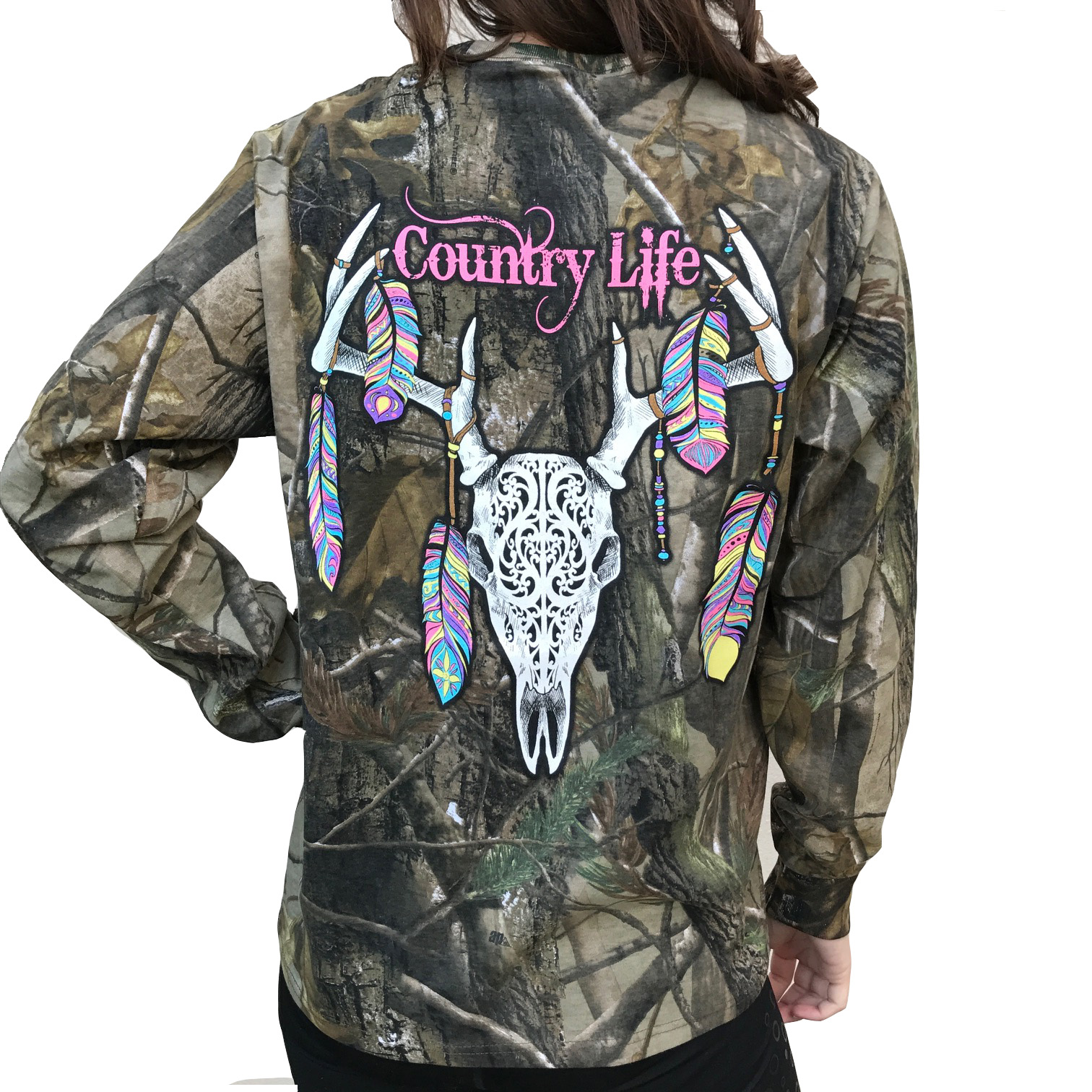 Country Life Feather Deer Skull Realtree Camo Long Sleeve Shirt (Medium)