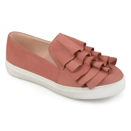 - Women's Faux Suede Slip-on Ruffle Sneakers