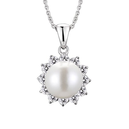 Sterling Silver Faux Pearl and Cubic Zirconia Flower -