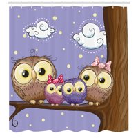Kids Shower Curtain, Cartoon Style Owl Bird Family Mother Father Daughter Son Sitting on a Branch, Fabric Bathroom Set with Hooks, Brown and Lavander, by Ambesonne