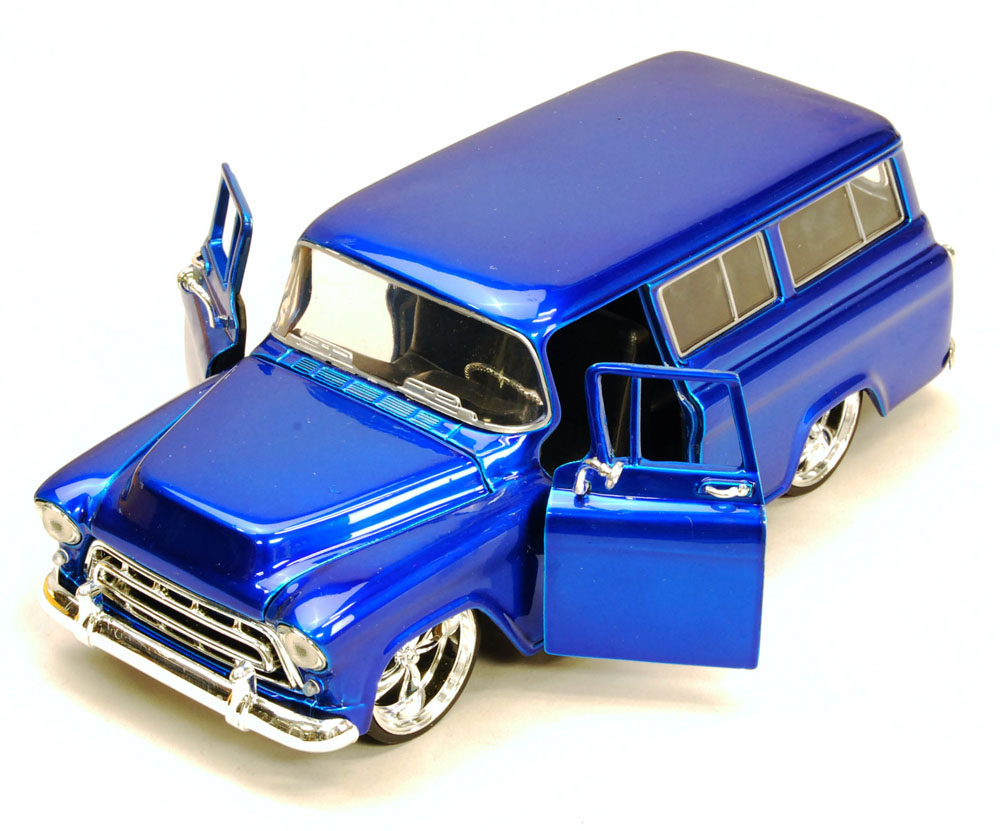 1957 Chevy Suburban, Blue Jada Toys Bigtime Kustoms 50267 1 24 scale Diecast Model Toy Car... by Jada
