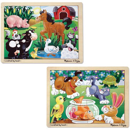 Melissa And Doug Farm Puzzle (Melissa & Doug Animals Wooden Jigsaw Puzzles Set,  Pets and Farm Life,)
