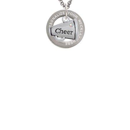 Custom Cheer Megaphones (Cheer Megaphone with AB Crystal - 2 Sided Custom Engraved Affirmation Ring)