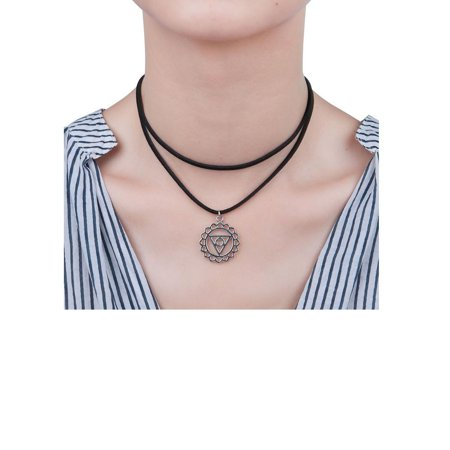 Sexy Sparkles Velvet Suede Double Layer Chakra Choker Energy Necklace for Women Girls (F: Vishuddha /Vishuddhi)