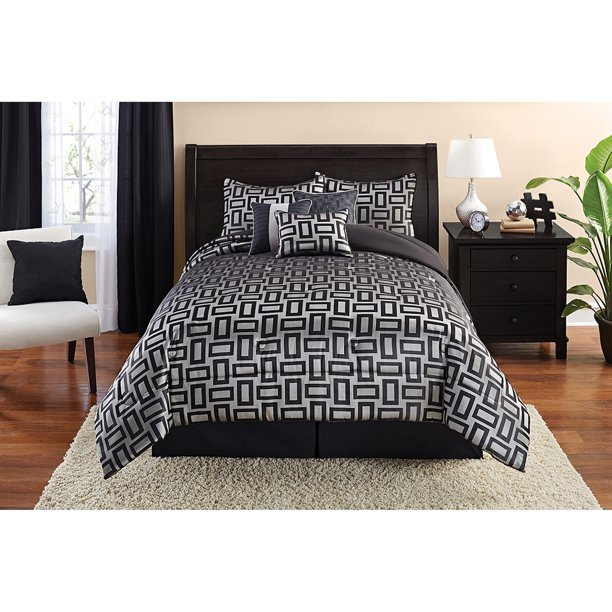 Mainstays King Geometric Comforter Set 7 Piece Walmart Com