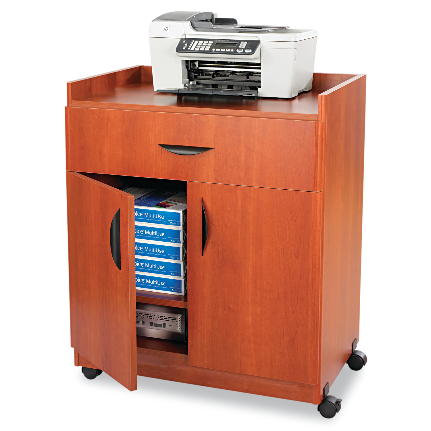 Safco Mobile Laminate Machine Stand w/Pullout Drawer, 30w x 20-1/2d x 36-1/4h, Cherry