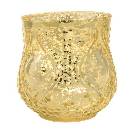 Vintage Mercury Glass Vase and Candle Holder (4-Inch, Rose Design, Large Nouveau Motif, Gold) - Decorative Flower