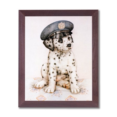 - Dalmatian Puppy Dog Police Hat Animal Wall Picture Cherry Framed Art Print
