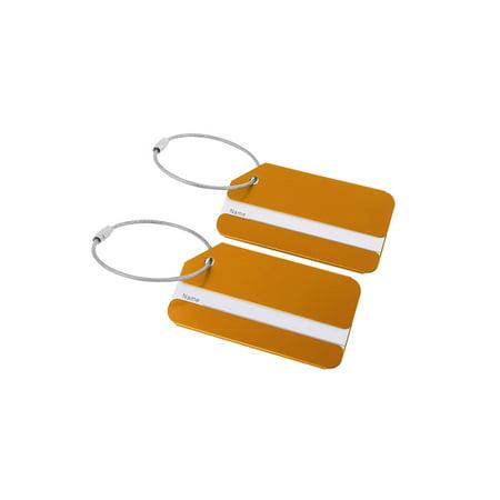 Unique Bargains Travel Aluminum Suitcase Luggage Tags Bag Labels, 2/7 Pack (Aluminium Luggage Tag)