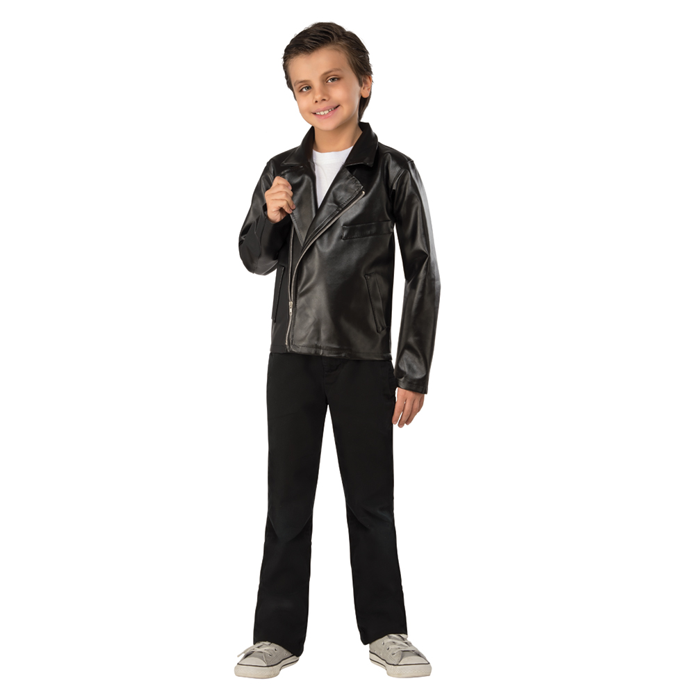 Halloween Day Mens Black Leather Jacket 50s Rockabilly T/'Bird Grease Costume