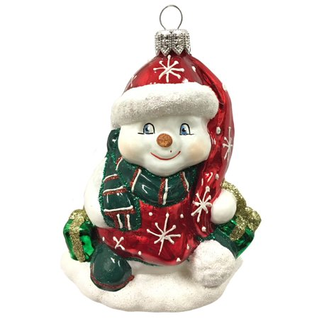 Snowman in Winter Outfit with Presents Czech Glass Christmas Tree - Snowman Outfit