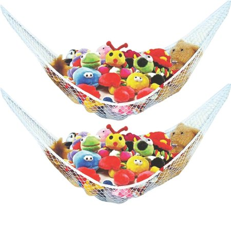 Stuffed Animal Toy Hammock - Best for keeping rooms clean, organized and clutter-free - Comes with BONUS FREE E-Book, Toy Organizer Storage Net is Durable and Easy to Install(Two