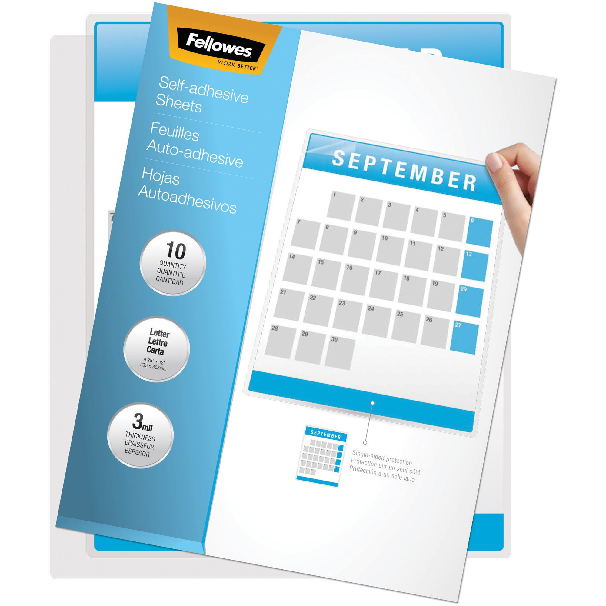 Fellowes, FEL5221501, Self-adhesive Letter 3mil Laminating Sheets, 10 / Pack, Clear