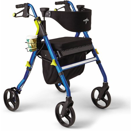 Medline Empower Rollator Walker, Folding Rolling Walker with 8 inch Wheels, Blue
