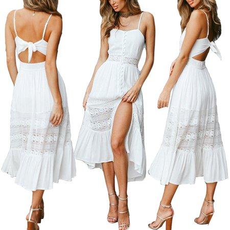 b7bef6aaaa1a Urkutoba - Summer Womens Boho Maxi Dress Lady Evening Cocktail Party Beach  Dress Sundress #824 - Walmart.com