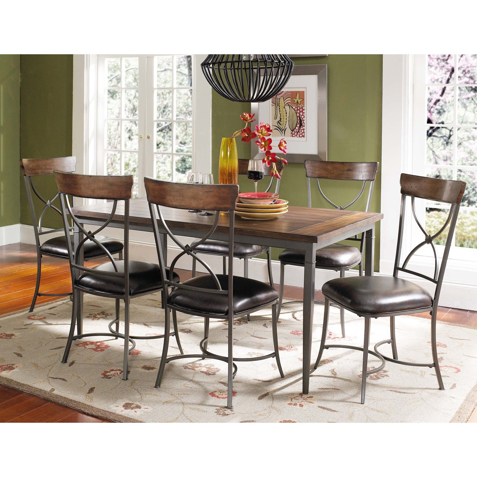 Hillsdale Cameron 7 Piece Rectangle Wood and Metal Dining Table Set with X-Back Chairs