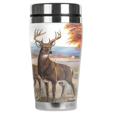 "Mugzie brand 20-Ounce ""MAX"" Stainless Steel Travel Mug with Insulated Wetsuit Cover - White Tail Deer"