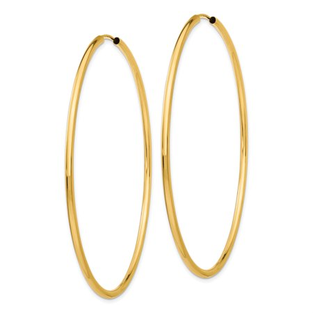 14k Yellow Gold Round Endless 2mm Hoop Earrings Ear Hoops Set Fine Jewelry Gifts For Women For Her - image 5 of 7