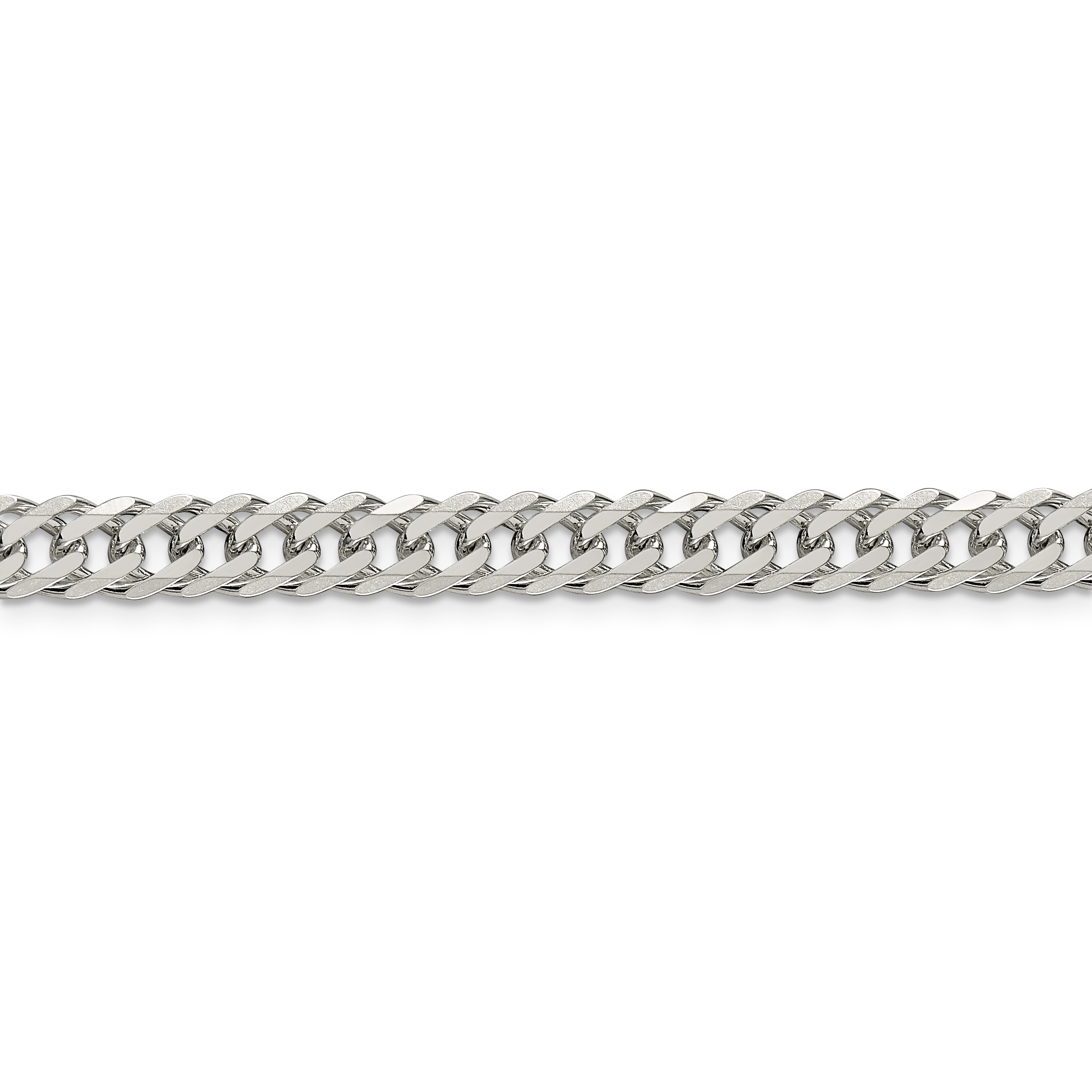 925 Sterling Silver 6.25mm Double 6 Side Diamond-cut Flat Link Chain 24 Inch - image 4 of 5