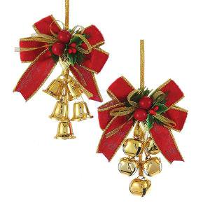 1 Set 2 Assorted Red, Green and Gold Bow and Bells Christmas Ornaments ()