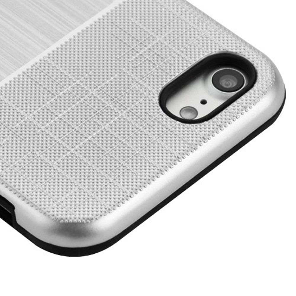 Apple iPhone 7/8 Case, by Insten Dual Layer Hybrid Brushed Hard Snap-in Case Cover For Apple iPhone 7/8 - Silver/Black - image 2 of 3