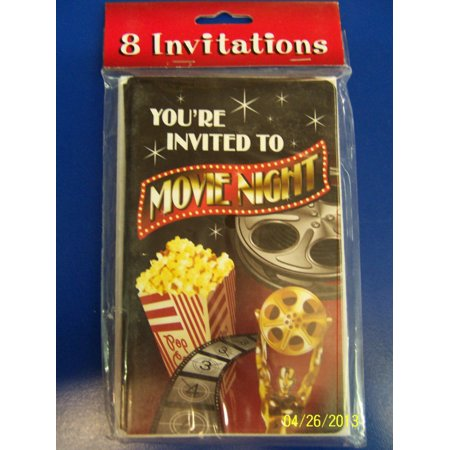Movie Night Hollywood Oscar Prom Theme Birthday Party Invitations W Envelopes