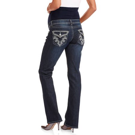 84a1e41a17abc Denim Diva - Maternity Full Panel Bling Embellished Flap Pocket Bootcut  Jeans - Walmart.com