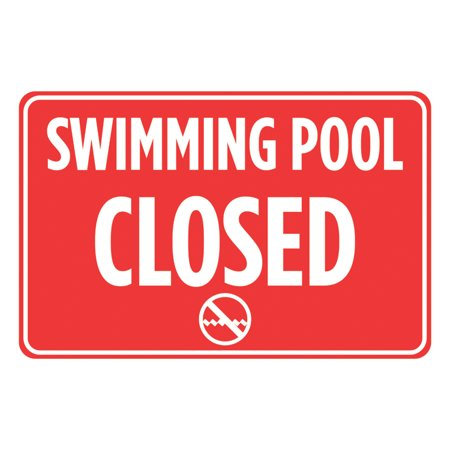 Swimming Pool Closed Red White Print Swim Rules Poster Outdoor Horizontal Notice Sign Aluminum